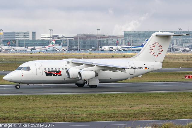 D-AMGL - 1986 build Bae 146-200, taxiing for departure at Frankfurt