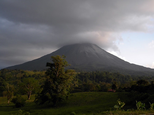 Arenal Volcano creates its own cloudy sky in Costa Rica