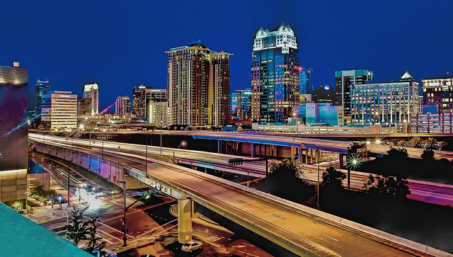 Elevated view of downtown Orlando, Florida, U.S.A. at the Blue Hour