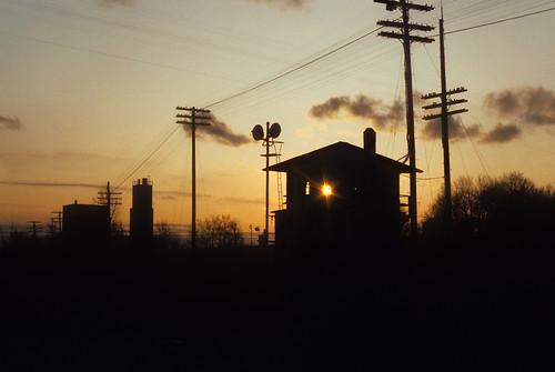 duplainvilletower sunset silhouette poleline poles tower milwaukeeroad wisconsin railroad wi signals trainordersignals