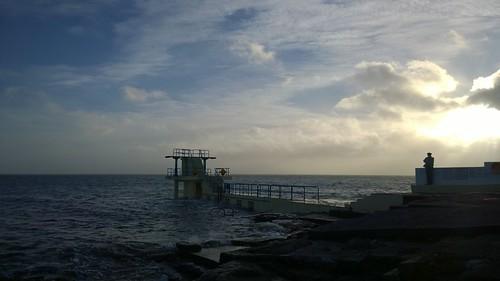 coast sea sky silhouette divingboard blackrock ireland galway winter galwaybay ocean thewildatlanticway lumia1020 cameraphone