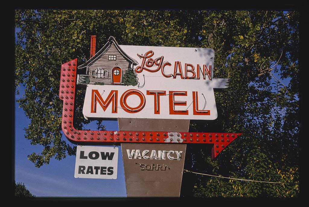 Log Cabin Motel sign, Montrose, Colorado (LOC)
