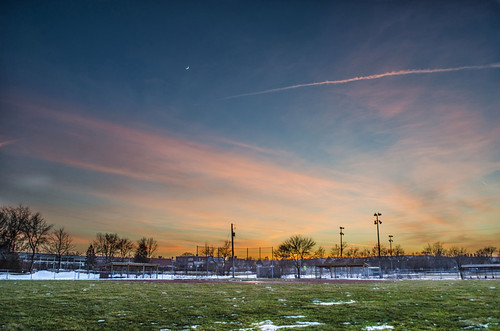 canada ontario paulboudreauphotography niagara d5100 nikon nikond5100 sunset nikkor1855mm photoshop trees layer raw winter baseballfield beamsville lincoln moon sky vapourtrail grass