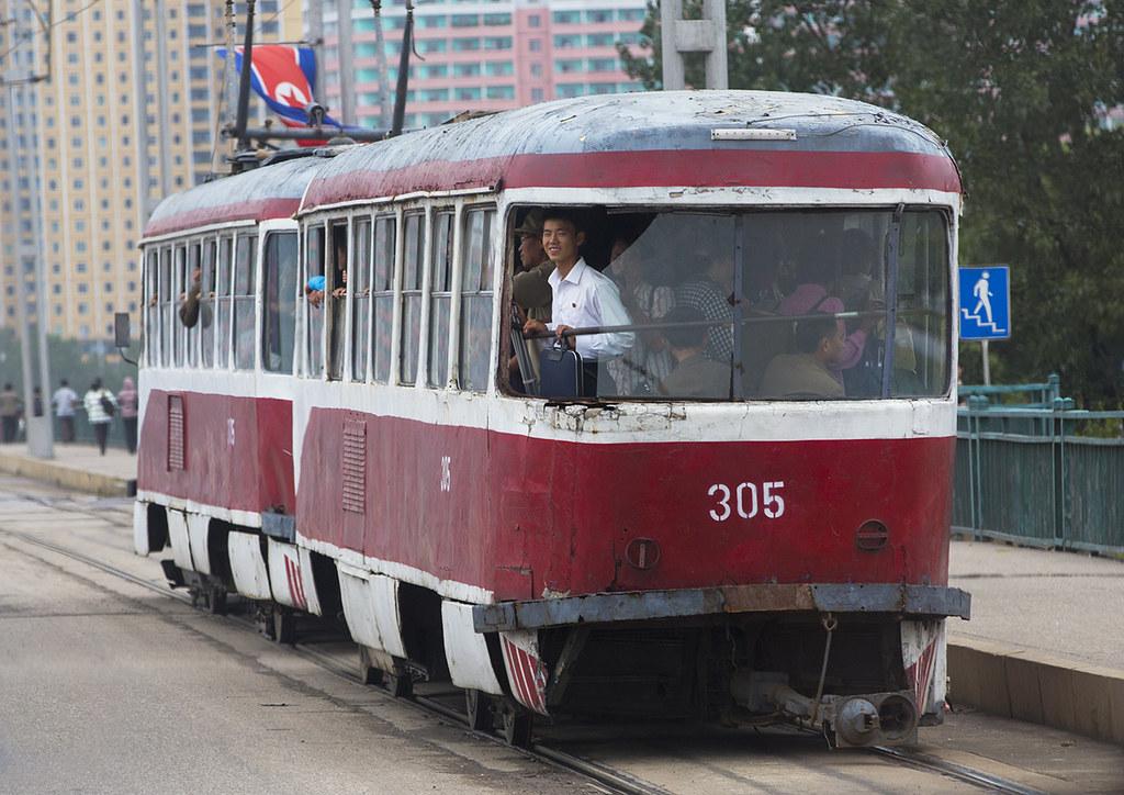 Old North Korean red tramway in bad condition, Pyongan Province, Pyongyang, North Korea