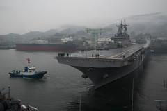 Wasp (LHD 1) departs Fleet Activities Sasebo , March 3. (U.S. Navy/MC2 Jordan Crouch)