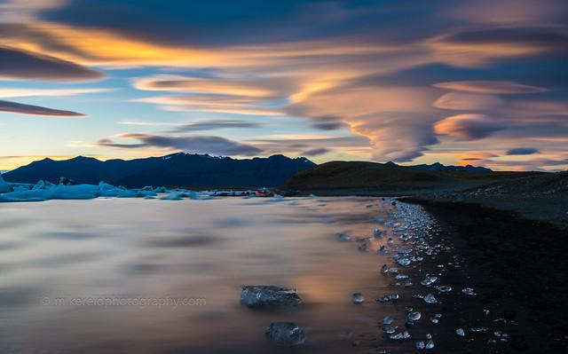 Jokulsarlon Ice Beach Lenticular Sunset
