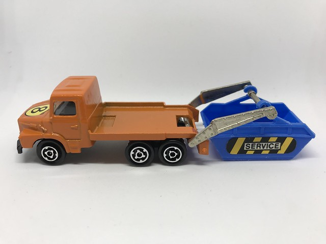 Majorette France - 200 Series - Number 222  - Multi Benne / Skip Truck - Miniature Die Cast Metal Scale Model Utility Services Vehicle