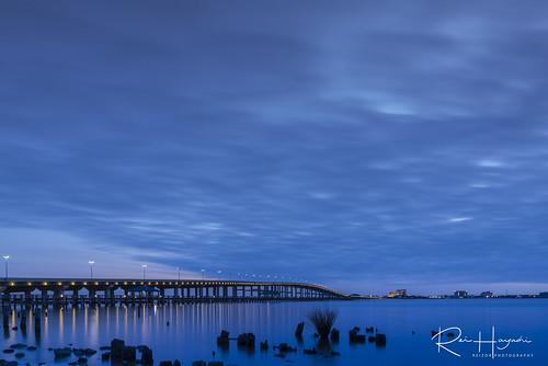 cloudy dusk landscape longexposure mississippi oceansprings sunset unitedstates winter アメリカ アメリカ南部 オーシャン・スプリングス ミシシッピー 冬 夕日 夕暮れ 曇り 長時間露光 風景