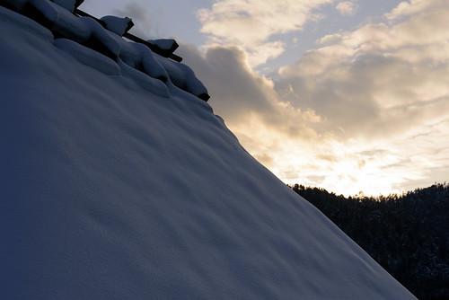南丹市 京都府 japan kyoto 美山 古民家 建築物 architecture 雪 snow 夕景 sunset
