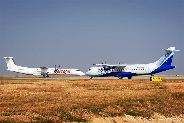 SpiceJet Q400 and IndiGo ATR72-600