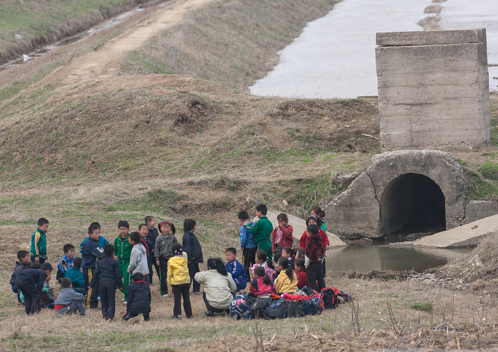 North Korean children going to do collective works in the fields, Pyongan Province, Pyongyang, North Korea