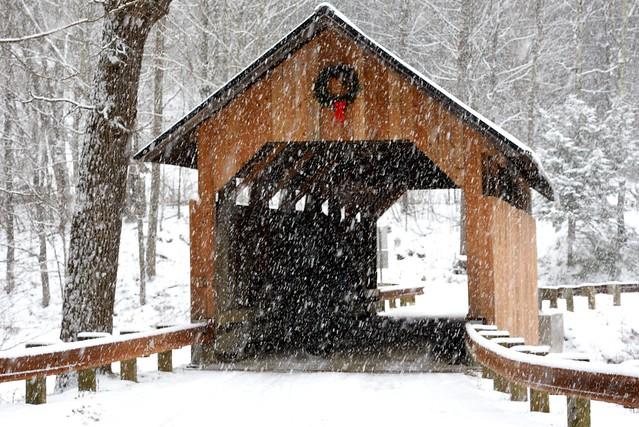 Snowy Covered Bridge Charm