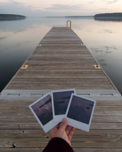 """""""bookcover"""" solitude hand reflection clouds infinity """"photoincontent"""" polaroid """"handholdingpictures"""" water sunset dock """"jordanlake"""" nc"""