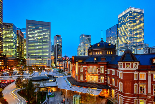 japan tokyo tokyostation nightview cityscape lighting bluetime buildings 日本 東京都 東京車站 東京駅
