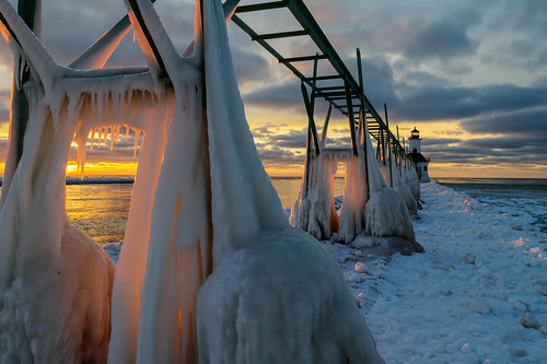 hdr lakemichigan michigan nikon nikond5300 stjoseph stjosephlighthouse clouds cold evening frozen geotagged ice icicles lake lighthouse oudoors outdoors pier reflection reflections sky sunset water winter saintjoseph unitedstates
