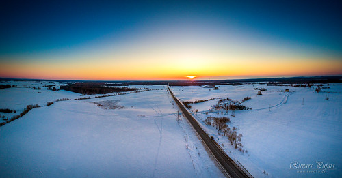 winter snow sunset sunny blue cutting half road motorway cold beautiful exciting