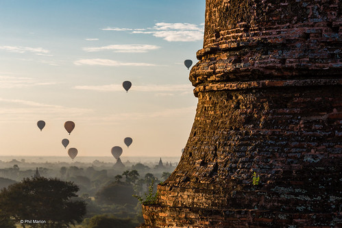 Sunrise balloons over Bagan temples - Myanmar | by Phil Marion (173 million views - THANKS)