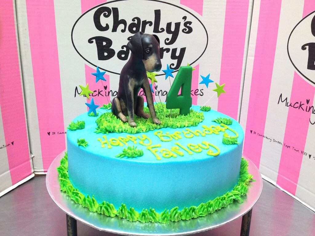 Dog Themed 4th Birthday Cake With 3D Personalised Doggie Figurine