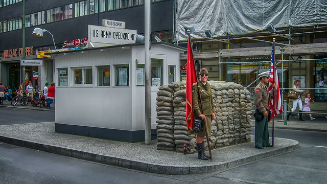 Checkpoint Charlie Checkpoint Charlie as tourist attraction in the Friedrichstraße Berlin