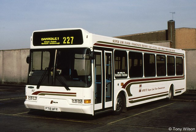 P718 WFR Dennis Dart SLF with East Lancs Spryte body on hire to Yorkshire Traction at Barnsley March97 (Copy)