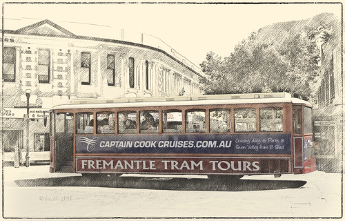 fremantle westernaustralia tram trams australia australien westaustralien sevenstyles photoborder photoshopaction textures texturen texture textur vintage tourismus painterly outdoor writing sign text netartii 7dwf
