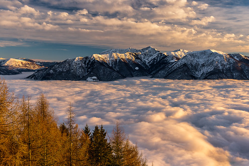 locarno cardada ticino switzerland cloud mist sunset mountain snow last light lago maggiore lake cimetta landscape swiss schweiz nebelmeer