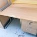 Oak desk comes with fixed ped E159