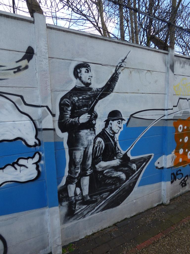 Grand union canal digbeth branch vandalised mural fishermen by ell brown