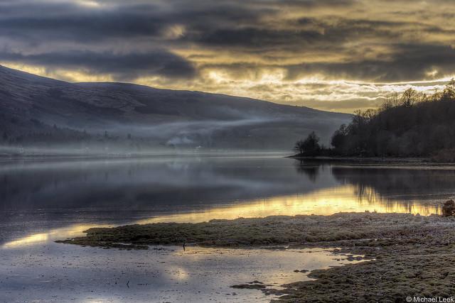 Winter sunset; Loch Fyne, Argyll & Bute, Scotland