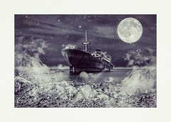 #barco  #elbarco #ship #boat #photo #photography #sea #night #moon #stars  #photoshop #fantasy #edition #fog  #telamon  #canarias