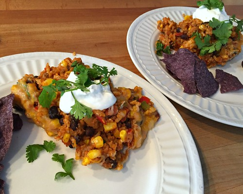 simple dinner of Mexican casseroles