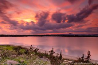 Larnaca salt lake sunset