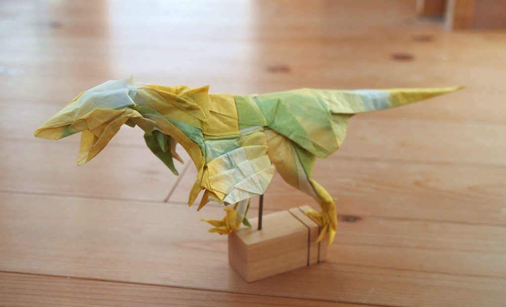 Origami Dinosaur Velociraptor - easy origami - How to make an ... | 622x1024