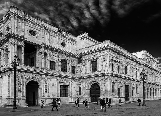 Rear of the Ayuntamiento (Seville) View from Plaza San Fransciso (BW) (Olympus OM-D EM1-II & M.Zuiko 17mm f1.2 Pro Prime)