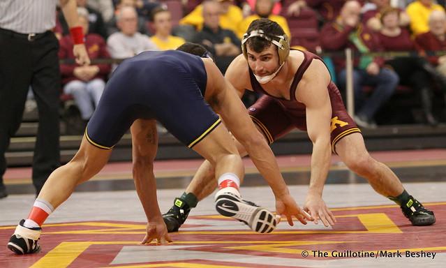 157: No. 5 Alec Pantaleo (Michigan) dec. No. 19 Jake Short (Minnesota) 5-2. 180121AMK0040