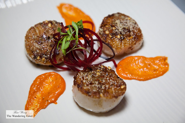 Tawaa scallops - Seared scallops, saffron chili, red pepper ajwain, spiced chutney.
