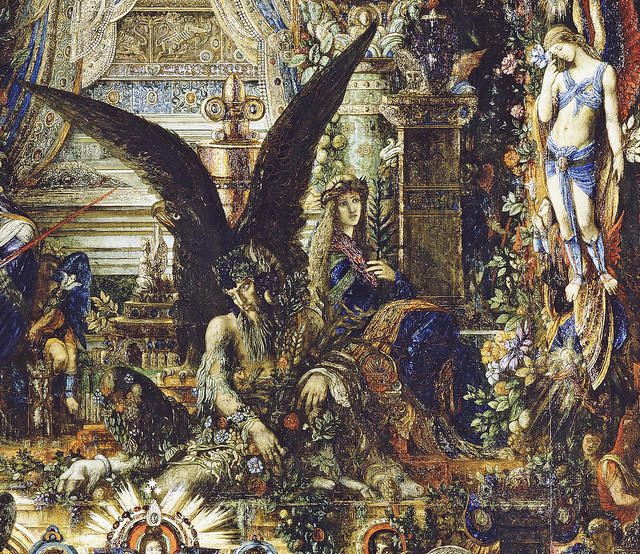 Gustave Moreau - Jupiter und Semele, detail unten 22a  Satyr mitte, Engel rechts [1894-95] - Paris, Musée GM
