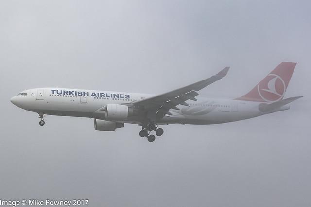 TC-JIO - 2007 build Airbus A330-223, arriving at Frankfurt in the fog