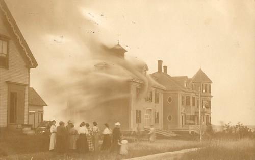 vintage cityinruins postcard rppc disaster fire