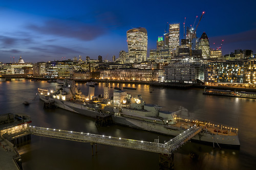 london night hms belfast ship city skyscrapers skyline hdr dri thames river riverthames cityscape water
