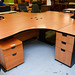 Beech desk E180 with high ped