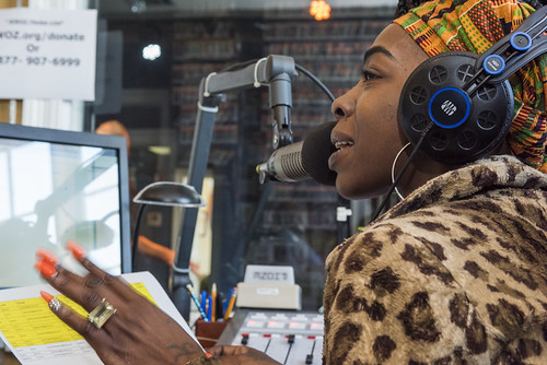 Cole Williams on the mic during WWOZ Spring 2018 pledge drive day 1 on March 13, 2018. Photo by Ryan Hodgson-Rigsbee RHRphoto.com