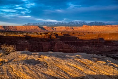 canyonlandsnationalpark islandinthesky whitecrackcamp canyonrimsrecreationarea mantilasalmountains lasalmountains publiclandforpublicuse utah whiterimsandstone organrockformation sunset