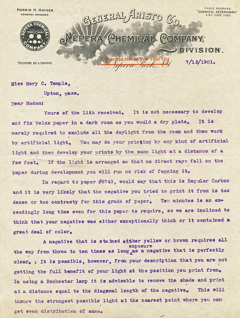 Nepera Chemical Company letter after the takeover in 1899