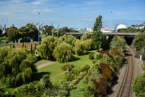 newzealand nikond750 southisland timaru buildings architecture trees sky clouds railway gardens port ships cranes
