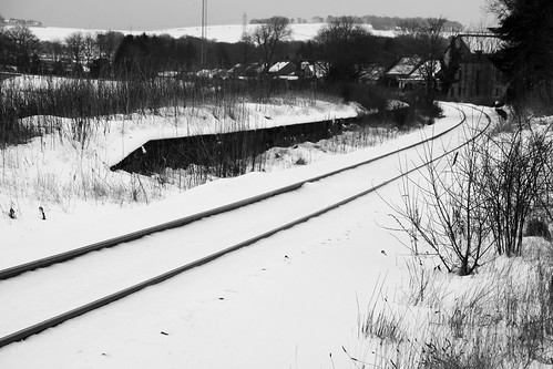 kintore aberdeenshire snow ice winter tracks train abandoned
