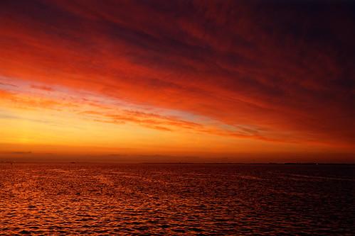 sky dawn weather clouds sea humberestuary humberside red orange sunrise