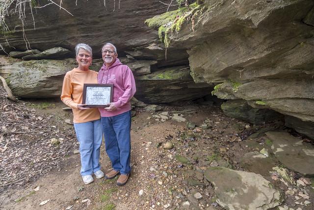 Bob and Anita Bay, SERA Landowner Appreciation Award, TTU Cave entrance, Putnam County, Tennessee