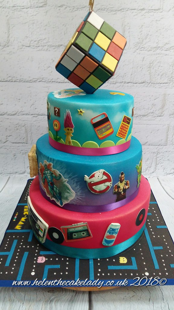 Super 40Th Birthday Cake 80S Themed With Rubix Cube Helen Flickr Funny Birthday Cards Online Barepcheapnameinfo