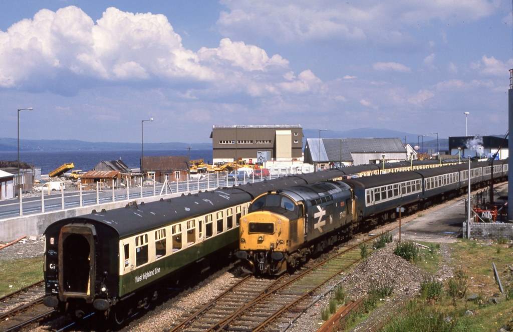 37.403 'Isle of Mull' at Mallaig with the K1 arrived. Jul'88